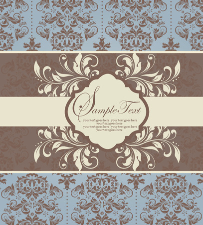pale yellow: Vintage invitation card with ornate elegant abstract floral design, brown and pale yellow on pale blue with ribbon. Vector illustration.