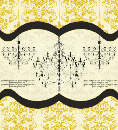 Vintage  invitation card with ornate elegant abstract floral design, dark yellow and black on pale yellow with chandelier. Vector illustration. Illustration