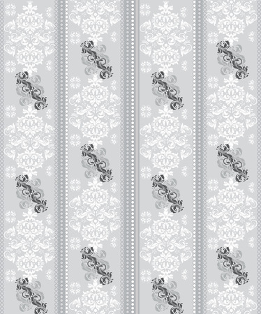 Vintage background with ornate elegant abstract floral design, gray and white. Vector illustration.