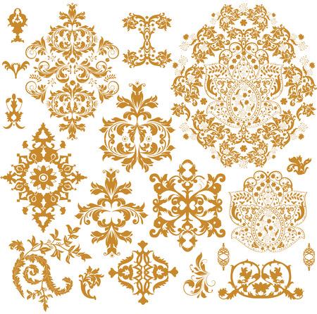 Vintage background elements with ornate elegant abstract floral design, brownish orange on white. Vector illustration.