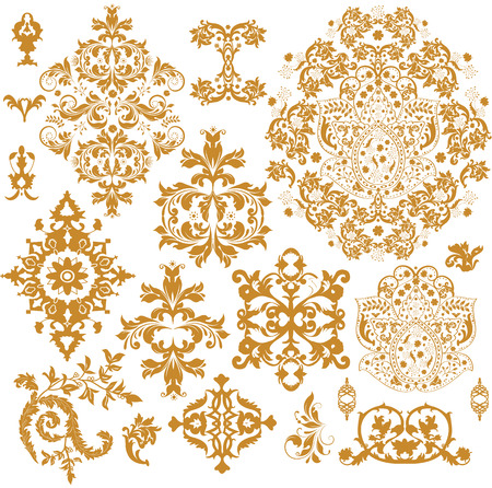 seamless floral pattern: Vintage background elements with ornate elegant abstract floral design, brownish orange on white. Vector illustration.