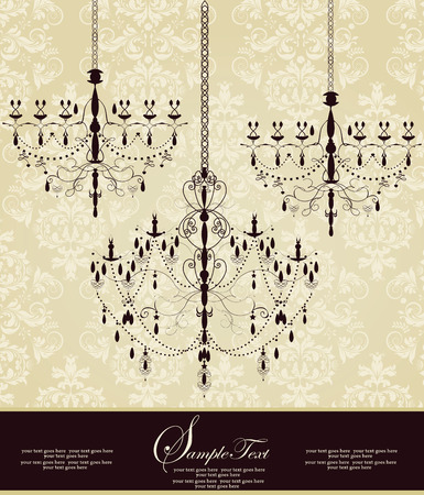Vintage invitation card with ornate elegant abstract floral design, black on gray with chandeliers. Vector illustration.