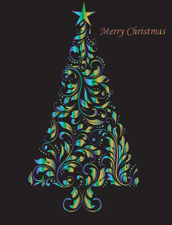 Vintage Christmas card with ornate elegant abstract floral design, shimmering blue and gold christmas tree on black. Vector illustration.