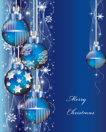 Vintage Christmas card with ornate elegant abstract design, Christmas balls with stars and snowflakes on royal blue. Vector illustration. Illustration