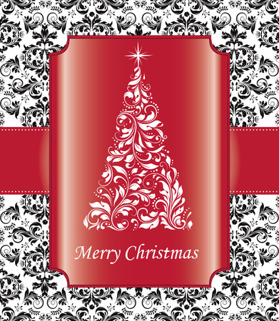 Vintage Christmas card with ornate elegant abstract floral design, black with white Christmas tree and red ribbon and frame. Vector illustration.