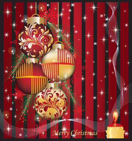 Vintage Christmas card with ornate elegant abstract floral design, red and gold on black with Christmas balls, candle, ribbon, pine needles, snowflakes and stars. Vector illustration. Illustration