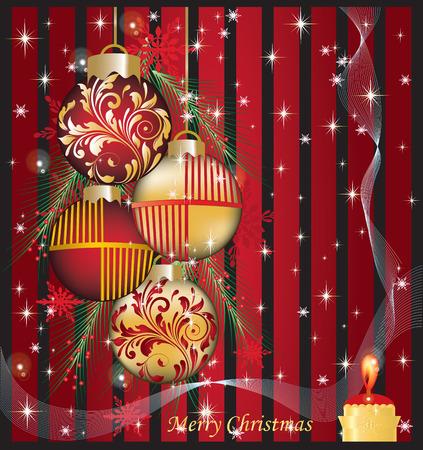 comida de navidad: Tarjeta de Navidad del vintage con diseño floral abstracto elegante adornado, rojo y oro en negro con bolas de Navidad, velas, cintas, hojas de pino, copos de nieve y estrellas. Ilustración del vector.
