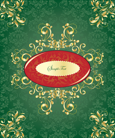 Vintage Christmas card with ornate elegant abstract floral design, red and gold on green. Vector illustration.