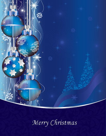 royal blue: Vintage Christmas card with ornate elegant abstract floral design, royal blue with Christmas balls, tree, stars, snowflakes and ribbon. Vector illustration.
