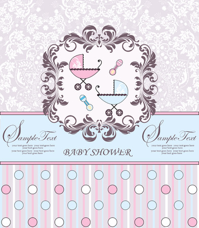 Vintage baby shower invitation card with ornate elegant retro abstract floral design, pink and light blue with baby carriages, rattles, polka dots and stripes. Vector illustration.
