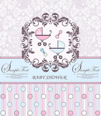 Vintage baby shower uitnodiging kaart met sierlijke elegante retro abstract bloemdessin, roze en lichtblauw met kinderwagens, rammelaars, stippen en strepen. Vector illustratie.