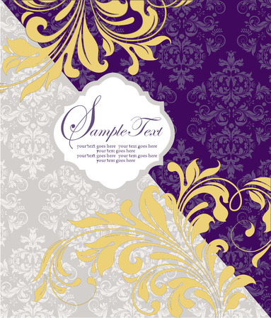 birthday party invitation: Vintage invitation card with ornate elegant abstract floral design, pale yellow on royal purple and gray. Vector illustration.