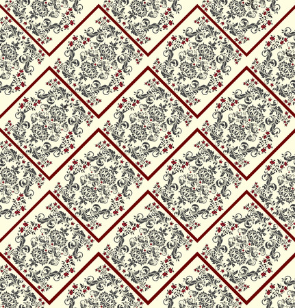 Vintage background with ornate elegant abstract floral design, black and red on pale yellow with zigzag lines. Vector illustration.