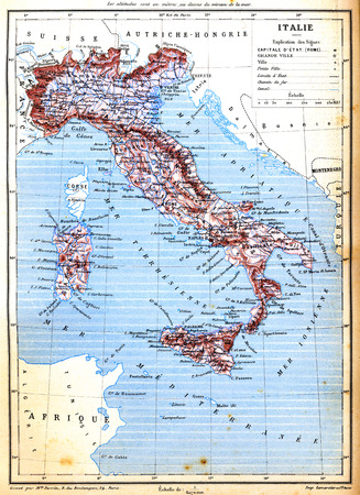 cartographical: The map of Italy with explanation of signs on map.