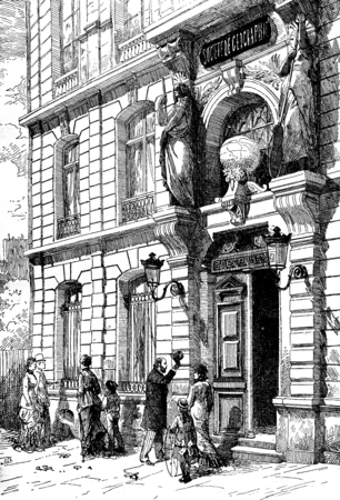 caryatids: Hotel the Geographical Society of France, vintage engraved illustration. Journal des Voyages, Travel Journal, (1879-80). Stock Photo