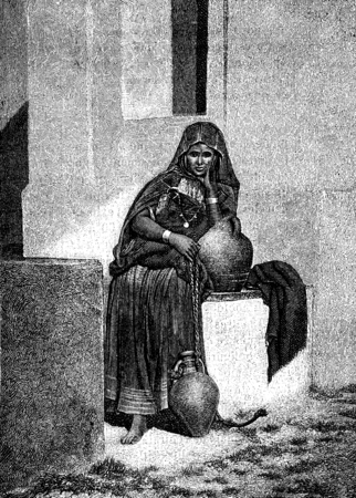 water carrier: In Tunis. A water carrier, vintage engraved illustration. Journal des Voyages, Travel Journal, (1879-80).