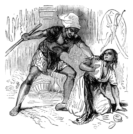 insulted: The dramas of India. Abused, insulted because of his good advice, vintage engraved illustration. Journal des Voyages, Travel Journal, (1879-80).