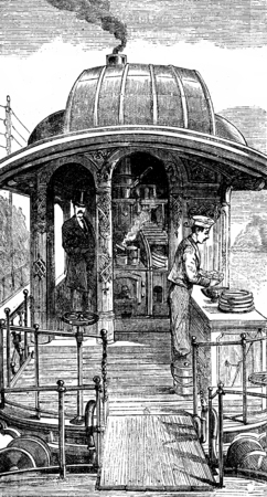 railway history: The cars of the Pacific Railroad. The diner cuisine, vintage engraved illustration. Journal des Voyages, Travel Journal, (1879-80).