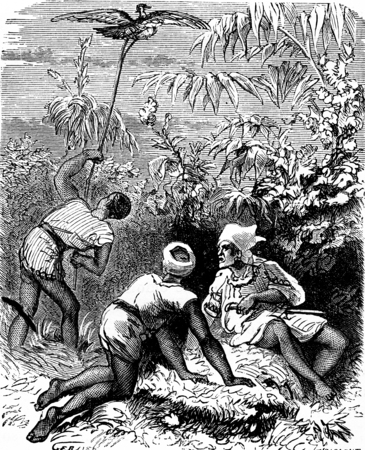 tall grass: The dramas of India. In the thick tall grass, three Indians, vintage engraved illustration. Journal des Voyages, Travel Journal, (1879-80).