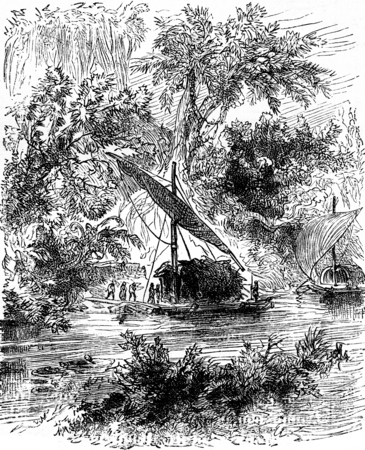 conducted: The young Creole was conducted there, vintage engraved illustration. Journal des Voyages, Travel Journal, (1879-80). Stock Photo