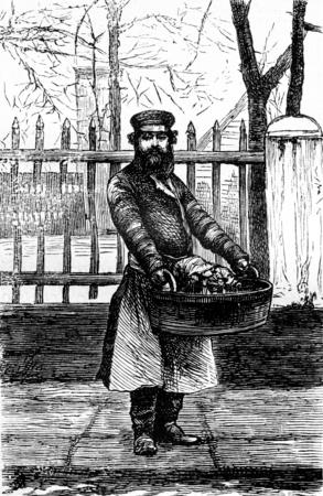 The fruit vendor, vintage engraved illustration. Journal des Voyage, Travel Journal, (1879-80).