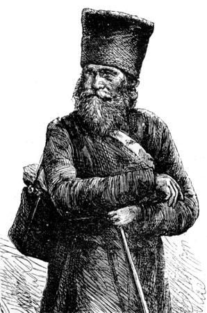 pilgrim: The pilgrim, vintage engraved illustration. Journal des Voyage, Travel Journal, (1879-80).