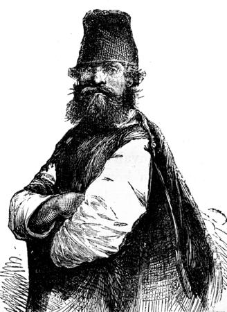 peasant: Peasant of Smolensk, vintage engraved illustration. Journal des Voyage, Travel Journal, (1879-80). Stock Photo