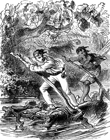 raft: The dramas of India. This should be enough to raft two people, vintage engraved illustration. Journal des Voyage, Travel Journal, (1879-80).