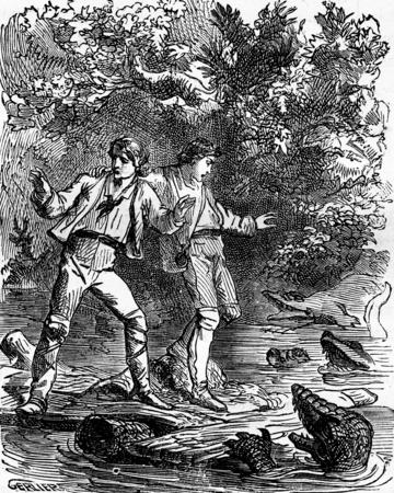 Dramas of India. Ah! my God, caimans!, vintage engraved illustration. Journal des Voyage, Travel Journal, (1879-80).