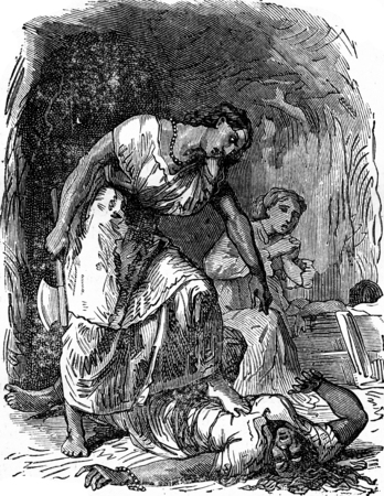 dramas: Dramas of India. Punishment, vintage engraved illustration. Journal des Voyage, Travel Journal, (1879-80). Stock Photo