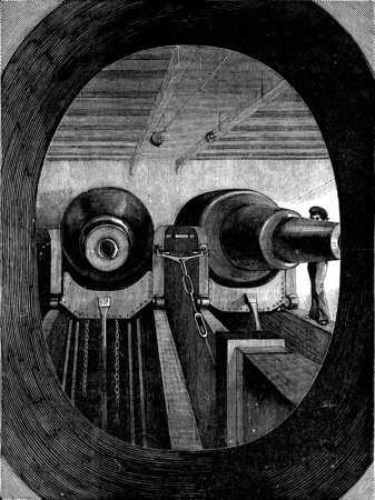 machinery: The machinery of destruction, vintage engraved illustration. Journal des Voyage, Travel Journal, (1879-80). Stock Photo