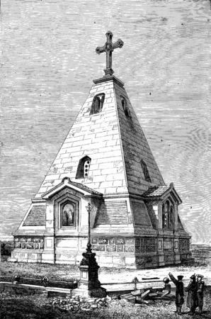 セヴァストポリでロシア記念碑、ヴィンテージには、図が刻まれています。ジャーナル デ航海、トラベル ジャーナル、(1880-81)。