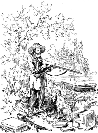 old rifle: Narcissus Nicaise perilous adventures in the Congo. Baste! he said as he loaded his gun handling, vintage engraved illustration. Journal des Voyage, Travel Journal, (1880-81). Stock Photo