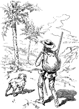 Narcissus Nicaise perilous adventures in the Congo. At the foot of a magnificent date palm which he placed his luggage, vintage engraved illustration. Journal des Voyage, Travel Journal, (1880-81). illustration
