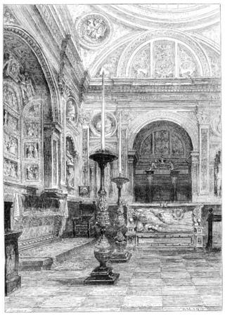 Tombeau de la reine Anne Jagellon de la cathédrale de Cracovie, illustration vintage gravé. Magasin Pittoresque 1867. Banque d'images - 38206026