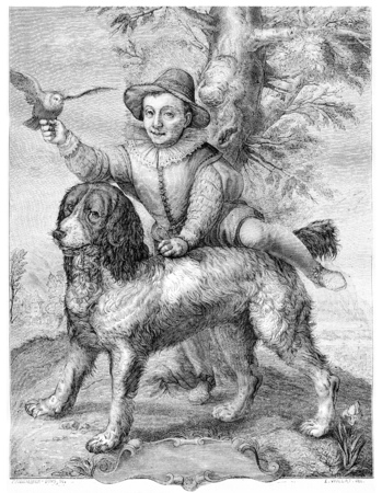 magasin pittoresque: Frisiuss son and the dog Goltzius, vintage engraved illustration. Magasin Pittoresque 1867.