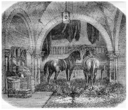 old barn: Old Church of Saint Aignan, in Paris, France, demolished and turned into a barn, vintage engraved illustration. Magasin Pittoresque - 1867