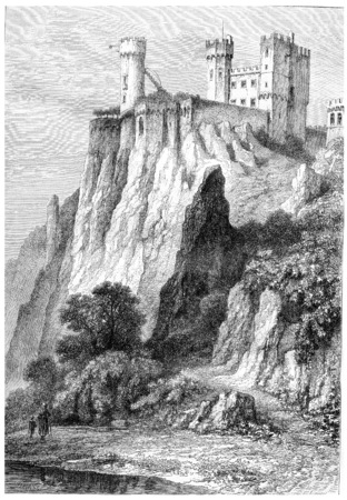 burg: Rheinstein Castle in Rhineland-Palatinate, Germany, shown above the banks of the Rhine River, vintage engraved illustration. Magasin Pittoresque - 1867