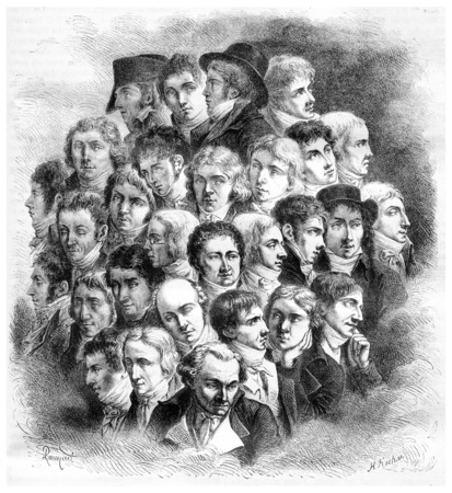 magasin pittoresque: Group of artists, by Boilly, vintage engraved illustration. Magasin Pittoresque 1867.