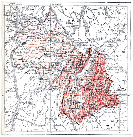 ancestry: Map of department of Isere, vintage engraved illustration. Dictionary of words and things - Larive and Fleury - 1895.