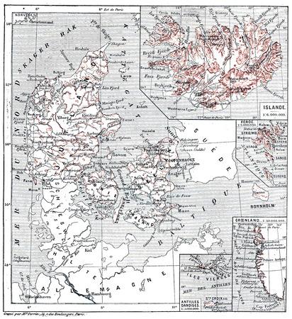 デンマークのユトランド半島の植民地、ビンテージの刻まれた図の諸島の地図。言葉・事・辞典 Larive ・ フルーリ - 1895年。
