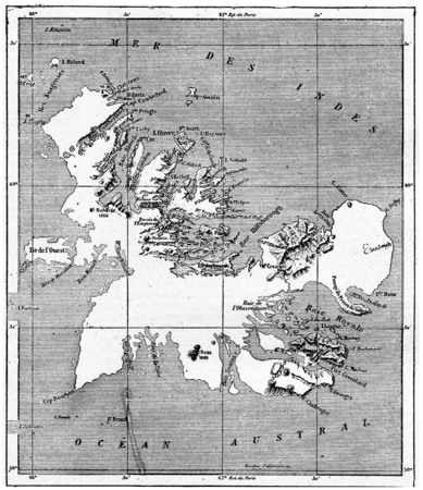 Kerguelen archipelago, vintage engraved illustration. Dictionary of words and things - Larive and Fleury - 1895.