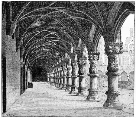 Gallery of the Courthouse in Liege, Belgium, vintage engraved illustration. Dictionary of Words and Things - Larive and Fleury - 1895 Imagens - 38206086