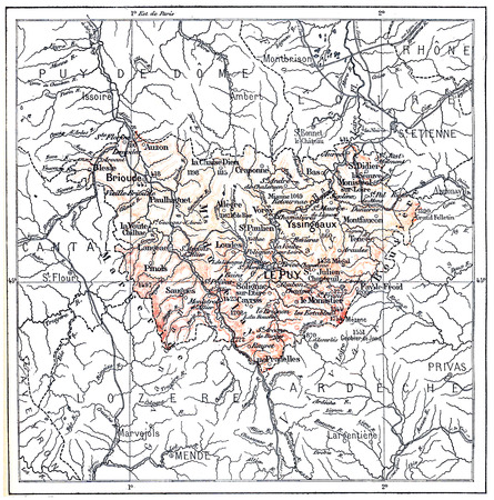 topographical: Topographical Map of the Department of Haute-Loire in Auvergne, France, vintage engraved illustration. Dictionary of Words and Things - Larive and Fleury - 1895