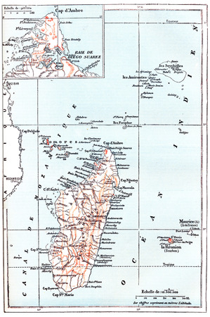 Map of Madagascar, showing northernmost region of Diana, vintage engraved illustration. Dictionary of Words and Things - Larive and Fleury - 1895