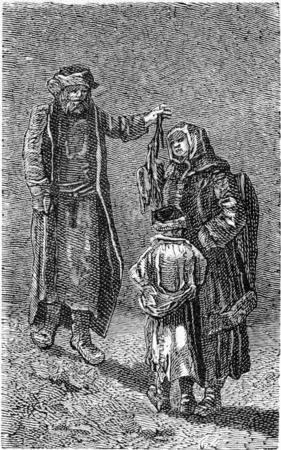 Birds dealer in Riga, vintage engraved illustration. Le Tour du Monde, Travel Journal, (1865).