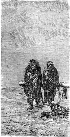 roadside: In the snow by roadside, vintage engraved illustration. Le Tour du Monde, Travel Journal, (1865).