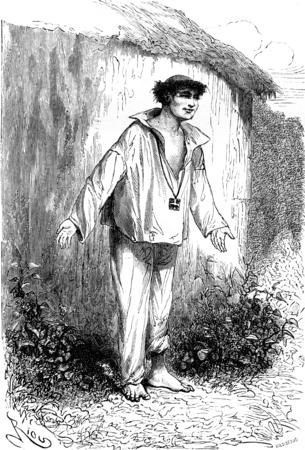 Jean de Tarapote, treasurer of the Mission Tierra Blanca, vintage engraved illustration. Le Tour du Monde, Travel Journal, (1865). Stock Photo