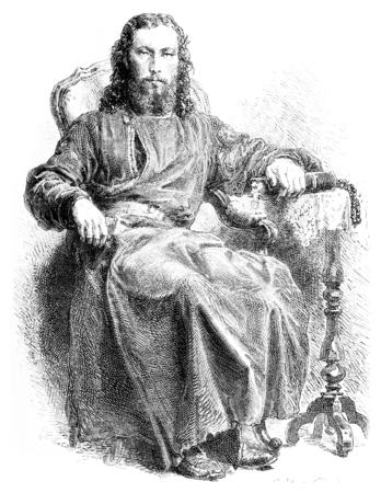 abbey: A monk photographer at Solovetsky convent, vintage engraved illustration. Le Tour du Monde, Travel Journal, (1872).