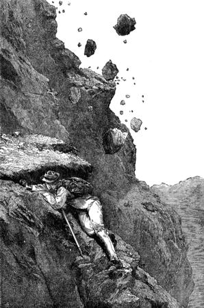 ice climbing: Rock avalanche on the Matterhorn. vintage engraved illustration. Le Tour du Monde, Travel Journal, (1872).